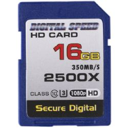 Digital Speed 2500X 16GB Professional High Speed Mach III 350MB/s Error Free (SDHC) HD Memory Card Class 10