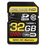 Digital Speed 1200X 32GB Professional High Speed Mach III 160MB/s Error Free (SDHC) HD Memory Card Class 10
